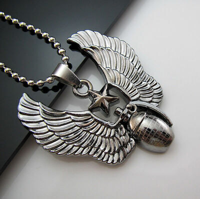 Chain Unisex's Stainless Angel Necklace wings New Men's Pendant Grenade Steel