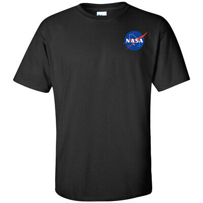 NASA Small Chest Logo T Shirt Mens Outer Space Shuttle Astronaut UFO Mars Tee