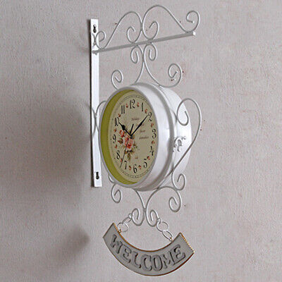Bracket Wall clock Station Retro White Cockerel Bell Practical High Quality