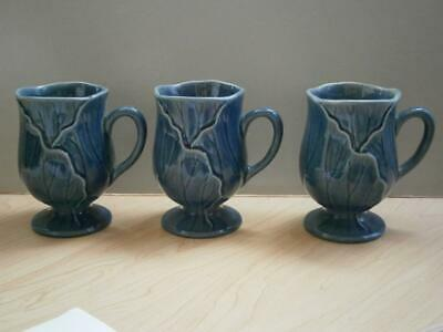Metlox Medium BLUE LOTUS 3 Pedestal Mugs - More Listed - Make Offer