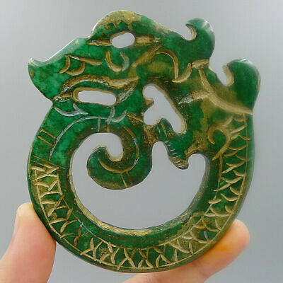 Green Pendant Crafts Hand Carved Charm Jadeite Chinese Natural Old Jade Plate