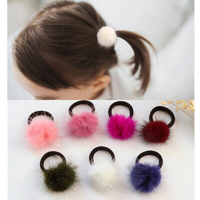 For Baby Women Girls 6cm Soft Furry Hair Ties Ball Rope Pom Poms Hair Band Ring