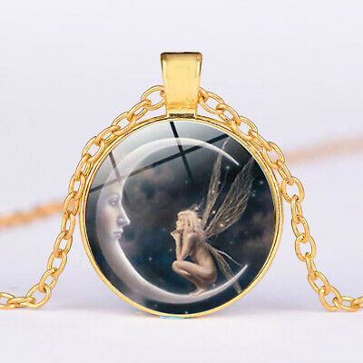 Chain Silver Pendant NEW Cabochon Necklace The Fairy Moon Jewelry Photo Glass On