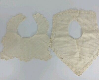Vintage Baby Bibs set of two button close quilted lace trim