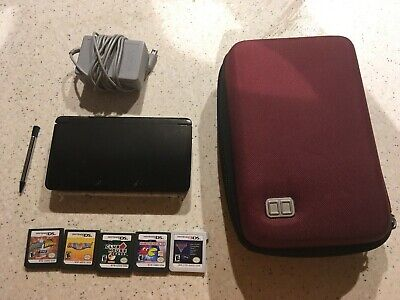 Used Nintendo 3DS Bundle -- Charger, Case, 5 Games, Extra Stylus