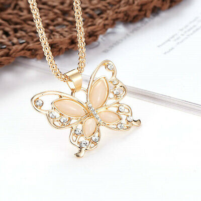 Women Rose Gold Opal Butterfly Charm Pendant Long Chain Necklace Jewelry