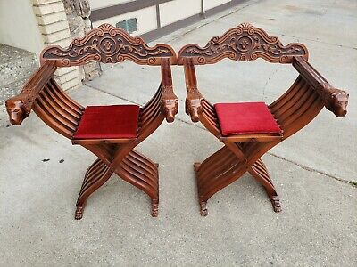 Savonarola Chair Walnut with Inlay,  Lion Head Folding X Scissor Chair Italian