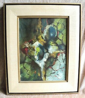 MIDCENTURY Signed WALLACE FISHER Orig Abstract PAINTING Framed Authenticated MCM