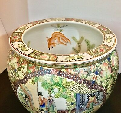 Qing Dynasty Gold Gilt Fish Bowl Famille Rose Canton Jardiniere Planter 19th c.