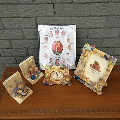 Baby Gift Ware Bear Collection And My 1St Year Photo Frame Book Ends Clock Decor