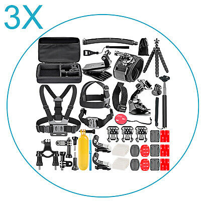 3 Pack 50-in-1 Kit di Accessori per GoPro Hero 6 5 4 3 + 3 2 1 Hero Session 5