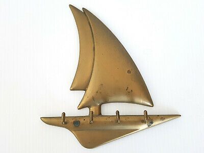 Keyring Wall 1970 Vintage Sailboat 70S 70'S Brass 70s