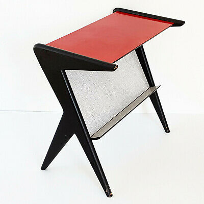 Side Table Magazine Rack Formica 1950 Vintage Feet Compass 50S 50'S