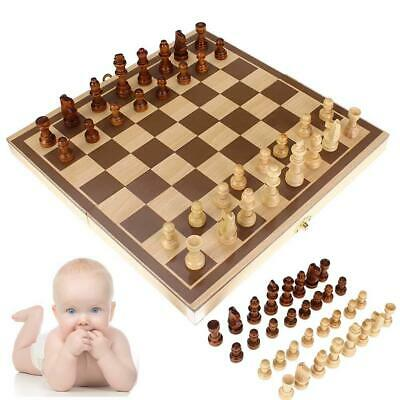 Chess Board Game Set Weighted Pieces FOLDING X-LARGE Inlaid Wood Wooden