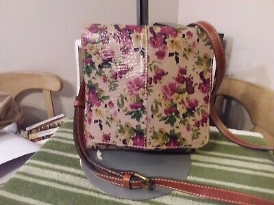 NEW Patricia Nash Granada Crackled Floral Print Leather Crossbody Shoulder Bag
