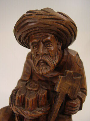 "old 10"" BLACK FOREST wood LUMBERJACK german master carved figure old man with ax"