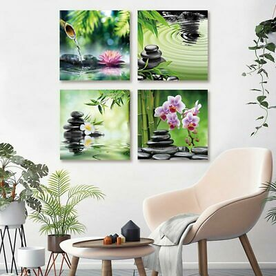 4 Panel Frameless Canvas Painting Abstract Picture Print Zen Stone and Flowers