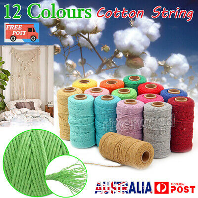 100m 2mm Natural Cotton Rope Cord String Twisted Beige Craft Macrame Artisan AU