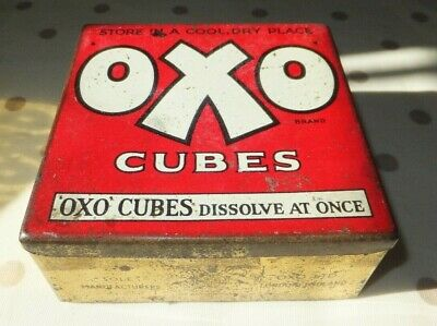1960's OXO tin with hinged lid, 12cm x 11.5cm. Made for 50 cubes