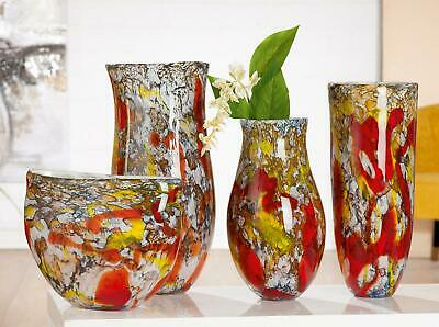 Spectacular Very Large Art Glass Blown Multi Coloured Studio Vases Or Bowl