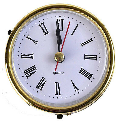 "2-1/2"" (65mm) QUARTZ CLOCK FIT-UP/Insert, Gold Trim, Roman Numeral, White S SH"