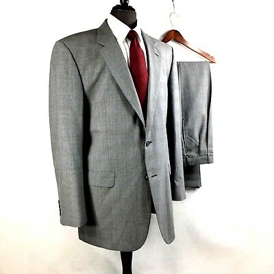 Jos. A. Bank mens gray white Glen Check wool suit w pleated cuffed pants 44XL