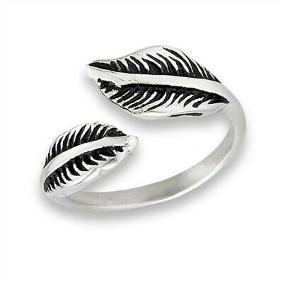 New Ladies 316L Stainless Steel Double Feather Wrap Ring Sizes 6-9
