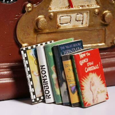 6x 1:12 Wooden Doll House Miniature Books Colorful For Dollhouse Room Decor SH