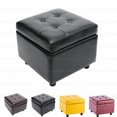 Wood Leather Large Foot Stool Footstool Pouffe Ottoman Storage Cube Toy Box Seat
