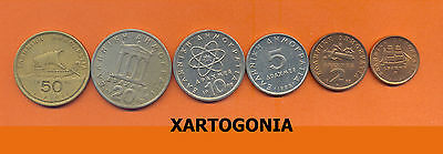 Greece Coins, Complete Set Of 1988, 1,2,5,10,20,50 Drachmas, Vg-F