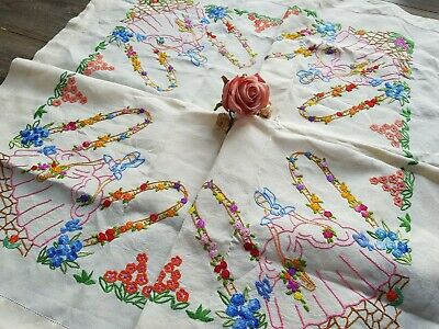 FABULOUS Vintage Hand Embroidered Linen Tablecloth with Crinoline Ladies