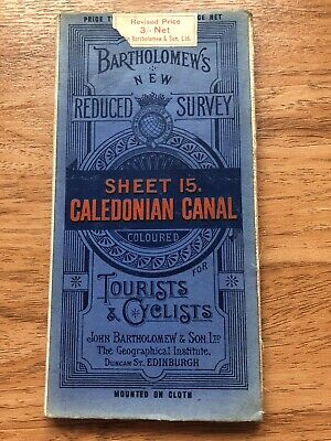 vintage bartholomews map scotland caledonian canal on cloth