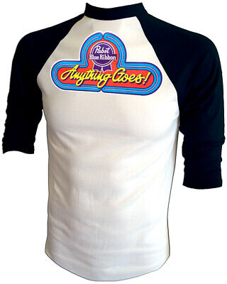 VTG 80's PABST Cool BLUE RIBBON PBR Party Beer ORIG Iron-On NEW Jersey T-Shirt