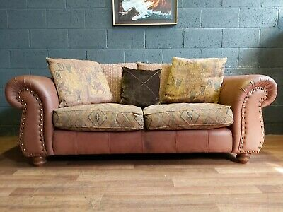 Chesterfield Large Vintage Thomas Lloyd 4 Seater Leather /fabric Club brown Sofa