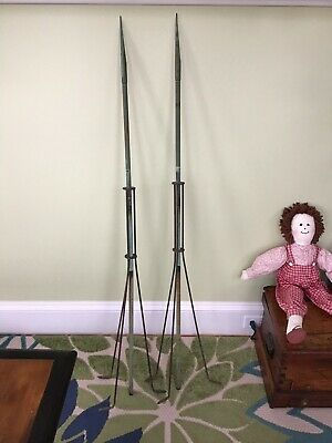 """(2) Antique  53"""" Tall Copper Lightning Rods and Tripod Bases, Great Condition"""