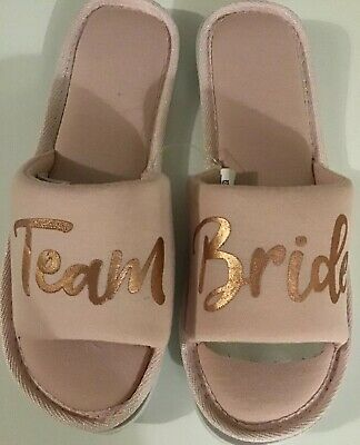 Team Bride Pink Slippers Rose Gold Logo -  UK 5/6 Hen/Wedding Day Bridesmaid