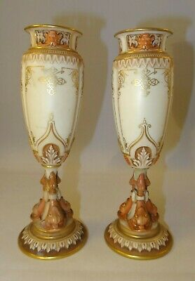 Pair Of Antique Royal Worcester Blush Ivory 17cm Dolphin Bud Vases Urns 1895