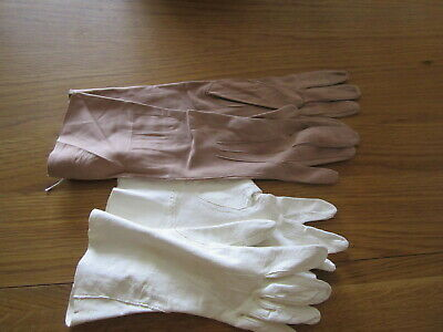 Two pairs of vintage Perrin's kid leather gloves beige and cream