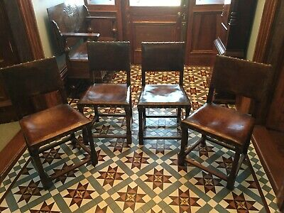 4 Oak And Leather Jacobean Style Dining Chairs