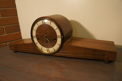 Stunning Vintage Antique Art Deco Style Wood Glass Mantle Vtg Clock For Repair