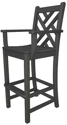 POLYWOOD Chippendale Bar Arm Chair in Slate Grey CDD202GY Bar Chair NEW