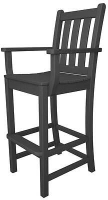 POLYWOOD Polywood Traditional Garden Bar Arm Chair In Slate Grey TGD202GY NEW