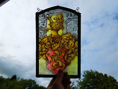Interesting Stained Glass Fragment Lion Heraldry Medieval Victorian Decorative