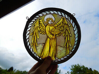 Interesting Angel Cherub Stained Glass Fragment Medieval Victorian