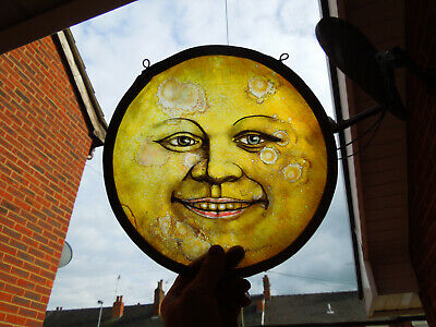 Stained Glass Fragment Moon Face Magic Witchcraft Medieval Victorian