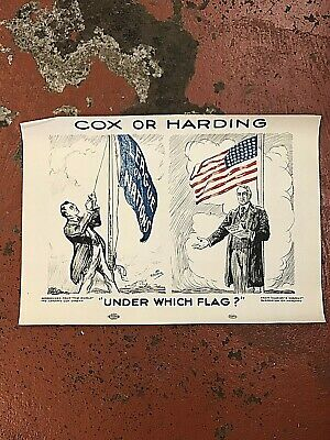 Original Cox or Harding Under Which Flag Political Poster*17x12 Inches*