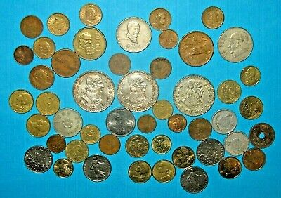 FOREIGN COIN LOT WITH 3 BIG SILVER MEXICO UN PESO! WORLD COIN COLLECTION! (bn4)