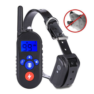 Large Dog Shock Training Collar Remote Rechargeable Anti Bark No Barking LED