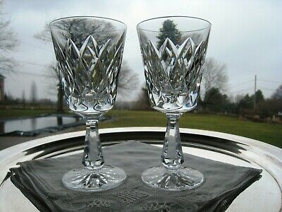 """Waterford Irish Crystal.. Kinsale Pattern.. Two 6"""" Tall Claret Glasses.. Signed"""