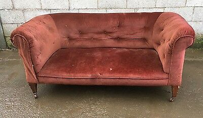 LARGE ANTIQUE  EDWARDIAN CHESTERFIELD SOFA/ Re-upholstery/ oak sofa